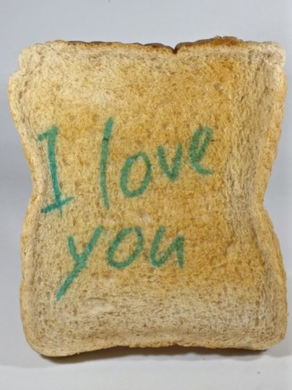 I love you printed valentine toast